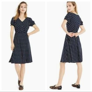 J Crew Short Sleeve Navy White Polka Dot Dress